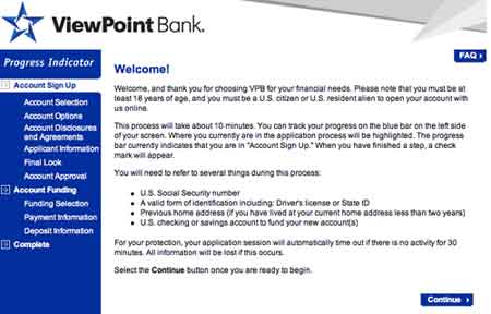 Sign up Viewpoint bank